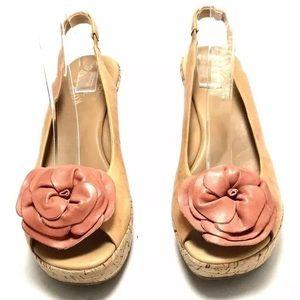 Kork-Ease Platform Slingback Cork Floral Sandals
